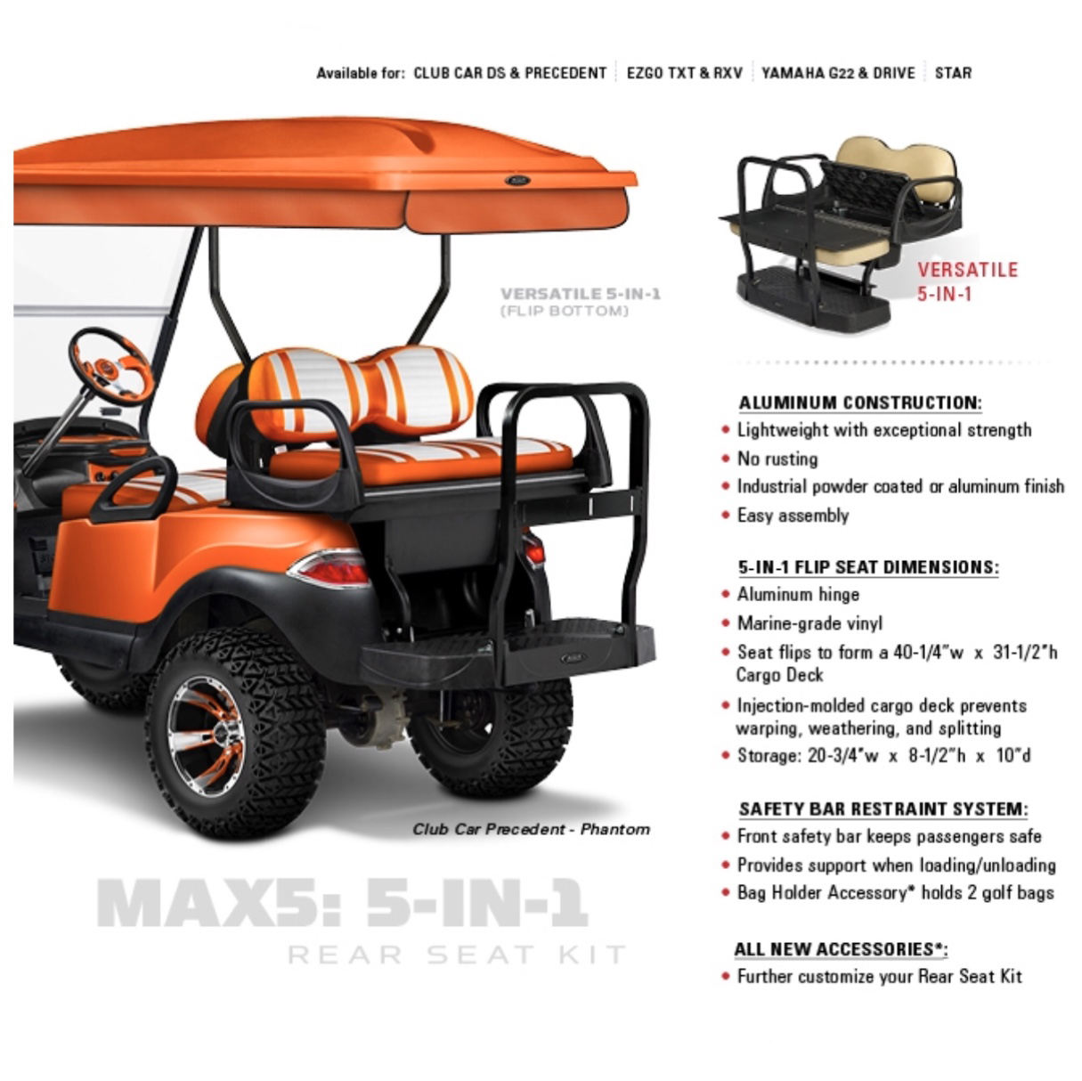 Coastline Golf Carts Golf Cart Rear Seats Amp Utility Boxes